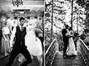 composition de photos de mariés en noir et blanc