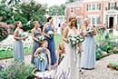 Beautiful bride and bridesmaids getting ready for the ceremony